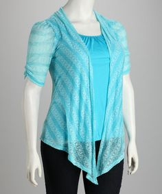 true blue zulily im a plus size diva Take a look at this Turquoise Layered Plus-Size Top by Yummy on #zulily today!