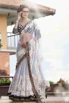 #designer #sarees @  http://zohraa.com/esha-gupta-saree-grey-net-saree.html…