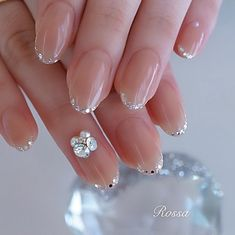 Pin on Nails design Silver Nail Art, Blue Acrylic Nails, Ombre Nail Designs, Nail Art Designs, Nails Design, Bridal Nail Art, Wedding Nail, Uñas Fashion, Kawaii Nails