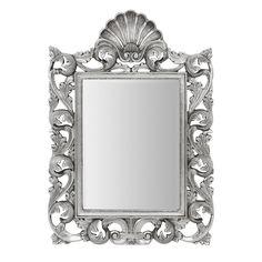 Corelli Wall Mirror, Silver Polyresin Frame