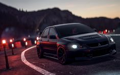 Download wallpapers 4k, Need For Speed Payback, Mitsubishi Lancer, 2017 games, road, autosimulator, NFS