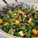KALE, MANGO, AND ALMOND SALAD WITH HONEY GINGER DRESSING- perfect for summer try substituting fresh, ripe peaches or any other fruit for mangos or top with some grilled chicken or salmon for a main dish.