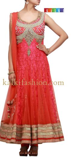 Buy it now  http://www.kalkifashion.com/orange-anarkali-suit-with-stone-embroidery.html  Orange anarkali suit with stone embroidery