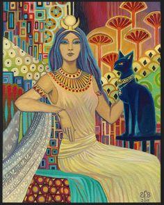 """Bast Egyptian Cat Goddess Art Deco  by Emily Balivet  ☼  The Egyptian goddess, protector of the household, bringer of health. She is known as the Lady of the East, the Goddess of the Rising Sun. Bast is widely known today as the """"Cat Goddess"""", protector of domestic affairs, and as a goddess who protected mothers and their newborn children. In Egyptian magical texts, a woman suffering from infertility might make an offering to Bast in hopes that this would help her conceive"""