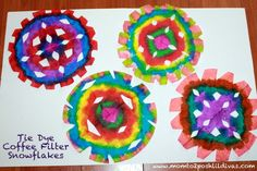 Faux Tie Dye Coffee Filter Snowflakes