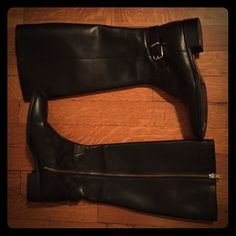J.Crew black leather field boots Knew high black leather riding boots from J.Crew. Only worn a couple of times- excellent condition!  Extended calf (which is really more like a normal calf because the J. Crew tall boots run extremely narrow. J. Crew Shoes