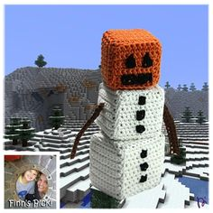 Finn's Pick: Crochet Snow Golem From Minecraft Made by Di-Day. Learn all about the Snow Golem. Minecraft Crochet Patterns, Minecraft Pattern, Minecraft Toys, Minecraft Creations, Lego, Minecraft Crafts, Minecraft Party, Minecraft Stuff, Quick Crochet