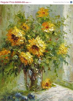 Items similar to Oil Painting Palette Knife Yellow red abstract Bouquet Textured Colorful Handmade home decor Golden Green ART by Marchella on Etsy Landscape Art, Landscape Paintings, Monet Garden Giverny, Sunflower Vase, Still Life Flowers, Oil Painting Flowers, Painting Abstract, Palette Knife Painting, Green Art