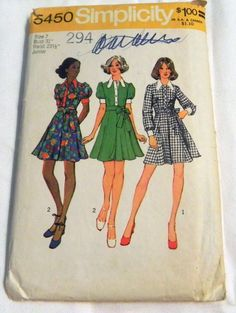 """1970s Fit and Flare Wrap skirt Dress with puff sleeves sewing pattern Simplicity 5450 Teen Junior size 7 Bust 31"""" by retroactivefuture on Etsy"""