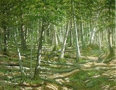 Old Windfall - Neil Welliver. Artist: Neil Welliver. Start Date: 1981    wikipaintings.org