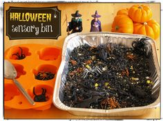 Halloween sensory bin - ignore the witches in the backdrop, just have spiders amidst the black beans or whatever they are