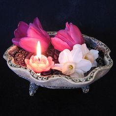 Ceramic Art, 3 Footed Bowl - Cobalt Lotus Mandala, Lacy Spirals - Float Flowers, Candles, Display Gems - Offering Plate, Water Blessing