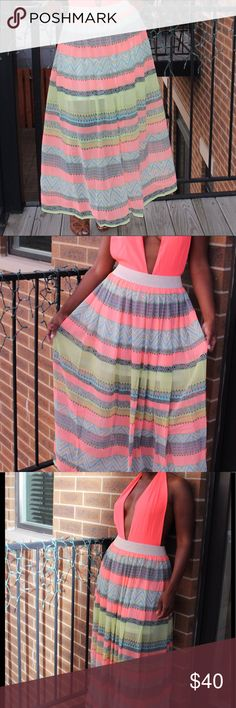 Multicolored Striped Maxi Skirt Sheer Striped maxi Skirt with half slip and elastic waistband. 100% Polyester Matilda Skirts Maxi