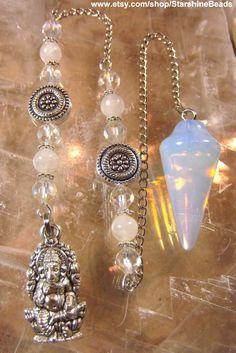 Opalite & Moonstone Ganesha Pendulum  Opalite by StarshineBeads