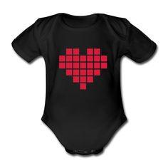 """Babystrampler Pixelheart  (Strampler Babystrampler Onsie Romper Babybody)  Mit diesem Babystrampler mit Pixelherz wird das Kind ganz bestimmt eine """"digital native"""". 27 Pixel, eine Botschaft: I ♡ you. Es gibt bestimmt kein schöneres Geschenk zur Geburt. Herzlichkeit - digital."""