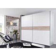 Toll Schwebetürenschrank VICTOR 5 Kleiderschrank Schrank Schlafzimmer Weiß Mit  Bauchbinde Sonoma