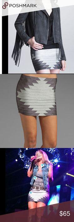 Haute Hippie bondage skirt Sz xs taupe Taupe and cream stretch bondage skirt as seen on Miranda lambert Haute Hippie Skirts Mini