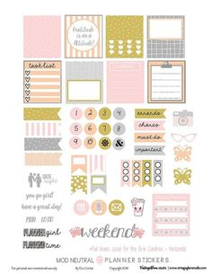 Free Mod Neutral Planner Stickers | Vintage Glam Studio