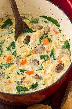 Creamy Chicken Spinach and Mushroom Tortellini Soup - you just can't have too many soup recipes right now to get through this cold season and this one does not disappoint!! Seriously delicious!