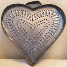 Nice Early Heart Shaped Cheese Mold Press Punched Tin Pierced Tin Grater Signed in Antiques, Primitives | eBay