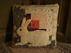 Rabbit On Old Quilt Pillow