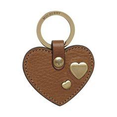 Mulberry - Heart Rivet Keyring in Oak Natural Leather