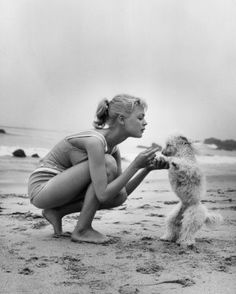 American actor Sandra Dee, dressed in a bathing suit, kneels on the beach as she tries to teach her pet poodle a trick. She is filming 'Gidget' on the Leo Carrillo State Beach in Malibu, California, USA. (Photo by Hulton Archive/Getty Images) Sandra Dee, Classic Hollywood, Old Hollywood, Hollywood Style, Hollywood Glamour, Poses, Janes Mansfield, Photo Vintage, Vintage Swim
