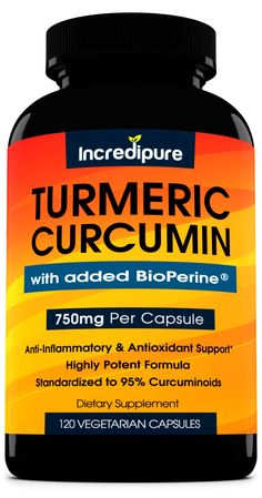 Amazon.com: Turmeric Curcumin Supplement w/ BioPerine - 750mg Per Capsule, 120 Veggie Caps: Health & Personal Care