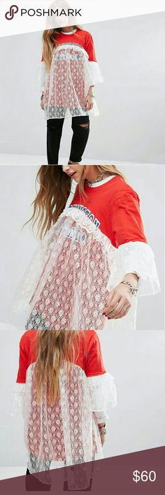 VintageReclaimed unique red tshirt white lace This is a very unique top can be worn as a dress or a tshirt for a taller girl its new recived it today in the mail its too big love it im sure you will turn heads with this top/dress the lace sets it off very different! no Tops Tees - Short Sleeve