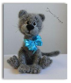 GATITO OOAK peluche animales de ganchillo hecho a mano suave juguete decoración Amigurumi hecho a pedido