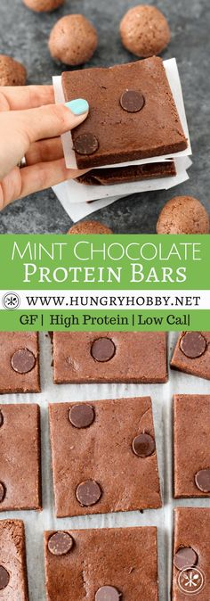 Mint Chocolate Protein Bars Are Delicious Make At Home Protein Bars With 14 Grams Of Protein That Come Together In Less Than 5 Minutes Via Hungryhobby Healthy Protein Snacks, Protein Bar Recipes, Brownie Recipes, Healthy Desserts, Delicious Desserts, Snack Recipes, Dessert Recipes, Yummy Food, High Protein