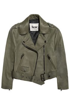 Acne|Mape cropped lizard-embossed leather jacket: a classic motorcycle jacket in a neutral color will go with anything and is perfect for spring.