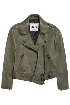 Acne|Mape cropped lizard-embossed leather jacket|NET-A-PORTER.COM