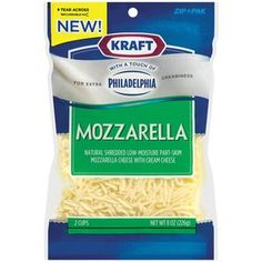 Sprinkle 2 handfuls of Kraft Natural Cheese Shredded Mozzarella Cheese With Touch Of Philadelphia, 8 oz on crust after applying butter/salt spread