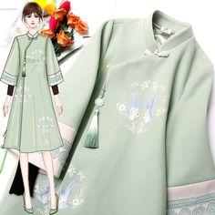 Batik Fashion, Hijab Fashion, Fashion Dresses, Oriental Fashion, Asian Fashion, Muslim Long Dress, Chinese Clothing Traditional, Cheongsam Dress, Chiffon Dress Long