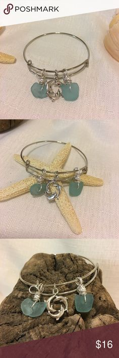 """Silver plated bangle  Seaglass and charm Silver bangle with hand drilled rare blue sea glass. Dolphin charm. Fits 7 1/2- 8"""" wrist size. Jewelry Bracelets"""