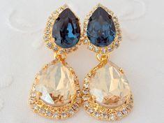 Champagne and navy blue Chandelier earrings, Bridal earrings, 14k Gold earrings, Dangle earrings, Drop earrings, Rhinestone earrings
