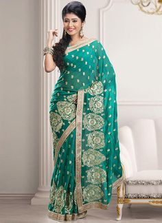 Teal Green Georgette Embroidered Saree