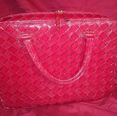Tote/ satchel This is a beautiful red woven patent leather Estee Lauder bag it can be used as a makeup bag or a tote for other items a computer bag so many options Estee Lauder Accessories