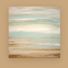 "RESERVED for a Client. Shabby Chic Art Original Acrylic Abstract Beach Painting Titled: A Dream Of Summer 30x30x1.5"" by Ora Birenbaum"