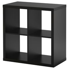 "KALLAX Shelving unit - black-brown - IKEA | Could use two of these as ""legs"" for a table top. Would leave room in between and underneath for legroom and keeping space open"