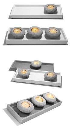 Modern DIY Concrete Tealight Candle Holder With Tray projects for your wedding (or home! Diy Concrete, Concrete Design, Candle Holder Set, Tealight Candle Holders, Tea Light Candles, Tea Lights, Concrete Candle Holders, Cement Art, Unusual Gifts