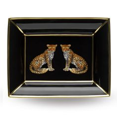 Twin #Leopard hand painted English fine bone china trinket tray http://www.halcyondays.co.uk/fine-bone-china/trinket-trays.html