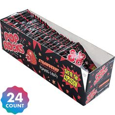 With 24 individual packs in this bulk candy box, give your guests something to talk about, fill the pinata at your kid's birthday or the retro candy buffet at your next celebration with a POP of Strawberry Pop Rocks candy. Strawberry Box, Raspberry, Rock Climbing Party, Nostalgic Candy, Classic Candy, Retro Candy, Bulk Candy, Candy Shop, Sour Candy