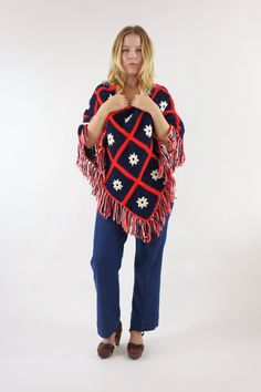 70s Crocheted Poncho Red White Blue Knit Sweater Cape Shawl America Flowers Floral One Size