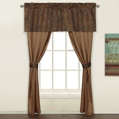 Leopard 5 Piece Decorative Curtain Set, by United Curtains, light weight sheer fabric with brown and black leopard pattern on valance and tie-backs.  #Swags #Galore  #Kids #Curtains