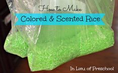 How to Color Rice from In Lieu of Preschool