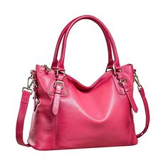 Kattee Soft Leather Tote Handbag Retro Shoulder Satchel Bag Rose *** Continue to the product at the image link.Note:It is affiliate link to Amazon.