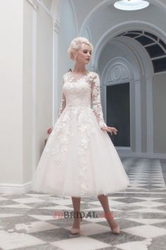 Luscious Long Sleeves A-Line Ball Gown Mid-Calf Length Tulle with Appliques Empire V-Neck Wedding Gowns
