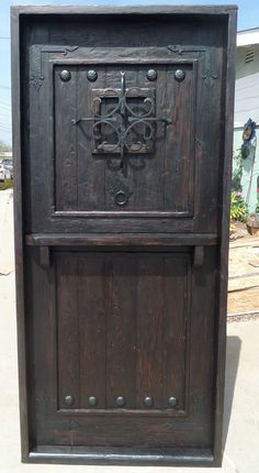 RUSTIC SOLID wood DUTCH DOOR shelf reclaimed lumber wrought iron speakeasy